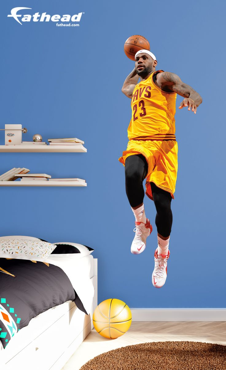 NBA Basketball | Our LeBron James Fathead wall decal is perfect for a birthday, graduation, holidays or just because. This gift is one that any Cavs fan will always cherish. SHOP http://www.fathead.com/nba/cleveland-cavaliers/lebron-james-dunk-wall-decal/ | DIY Bedroom Decor for Boys + Girls | Custom Decals | Peel & Stick | Man Cave | Home Decor