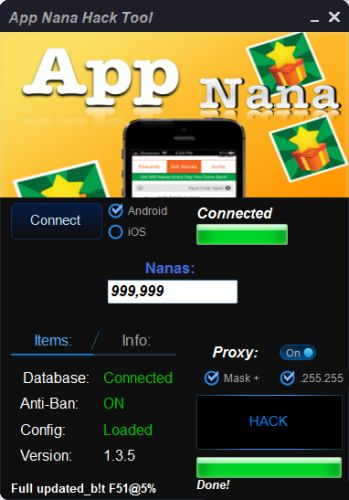 The App nana hack is ready for download. Use App nana hack working tool.