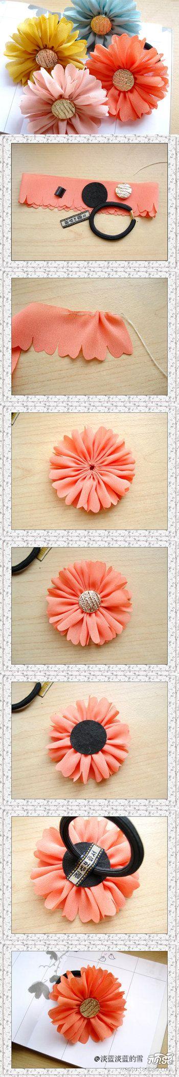 Flower hair elastic s    材料:雪纺花边约70cm长,扣子,不织布,发圈,发圈扣,织唛------------------做法,先用线把雪纺布条沿边缝一周,抽紧,系好,做成个花盘-------------------------背面粘上不织布圆片--------------反回来,粘上扣子------------装上发圈就做好