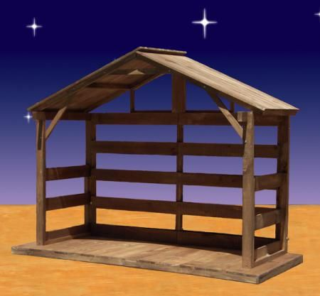 Large Wood Nativity Stable. Item #84190 Wood Outdoor Nativity Stable Made  Of White Pine