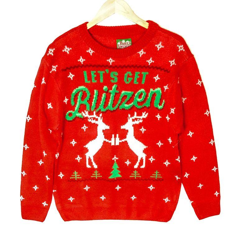 Let's Get Blitzen Reindeer Beer Tacky Ugly Christmas Sweater