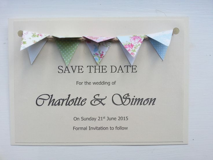 Homemade save the date vintage bunting wedding invitation