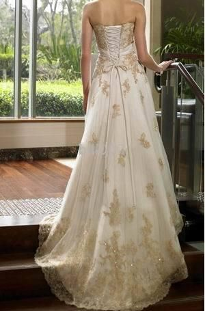 White & Tan Wedding Tux | Gorgeous gold and brown wedding dress fulled with soft embroidery