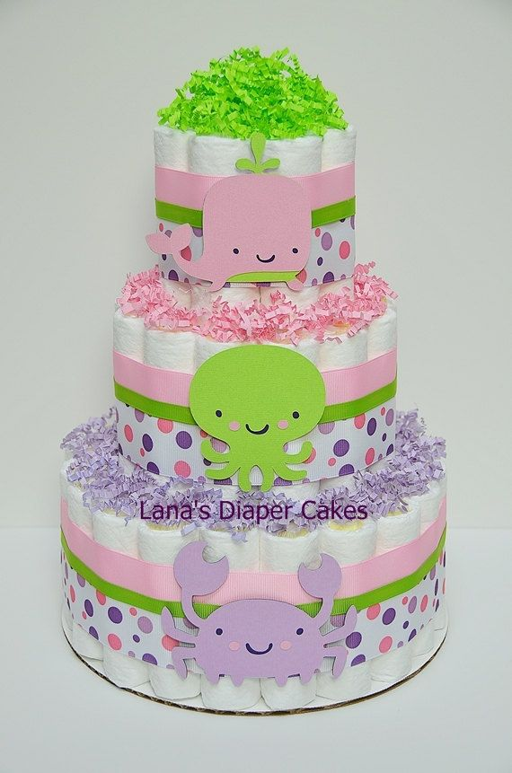 Under The Sea Diaper Cake Baby Shower by LanasDiaperCakeShop
