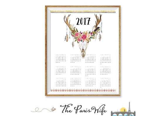 Printable 2017 Yearly Calendar Printable Wall by TheParisWife