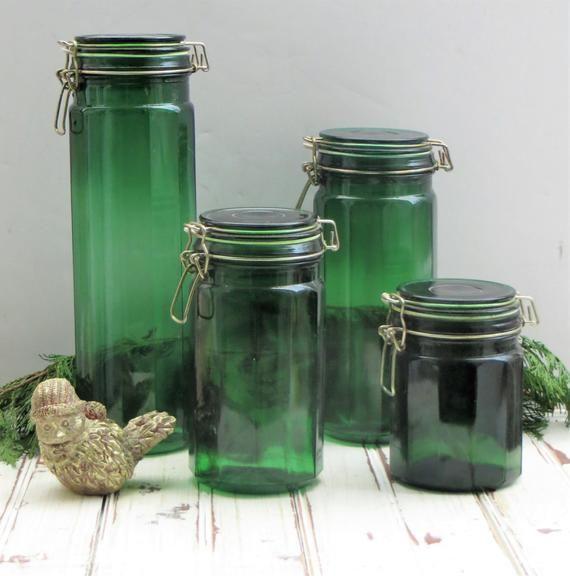 Vintage Green Glass Storage Jar Kitchen Glass Storage Container