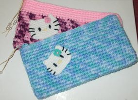 hello kitty crochet pencil case