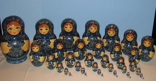 """40 """"Lacey Maidens"""" Nesting Dolls"""