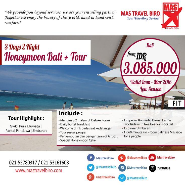 3D2N Honeymoon Bali + Tour Mulai Dari Rp 3.085.000/Couple , Yuk Pesan ;) #tour #bali #honeymoon