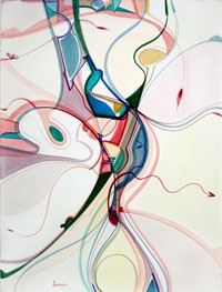 "Alex Janvier, U.S.A. Visitors 30"" x 23"" Watercolour on Paper Banff 2010"
