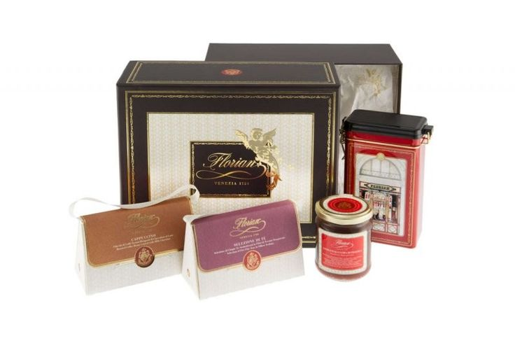 """Florian Gourmet Essential A fine selection of tastes that will make you live the atmosphere of the famous historical Venetian Caffè Florian.  The hamper includes:  - 1 Florian """"Venezia 1720"""" blend roasted ground coffee 250 gr in tin  - 1 Peach extra jam 120 gr  - 1 Florian selection of teas - 10 silken teabags 30 gr  - 1 Cappuccino dragées 50 gr"""