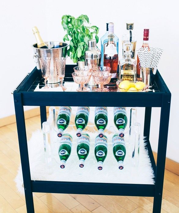 Turn an old changing table into a cool minibar