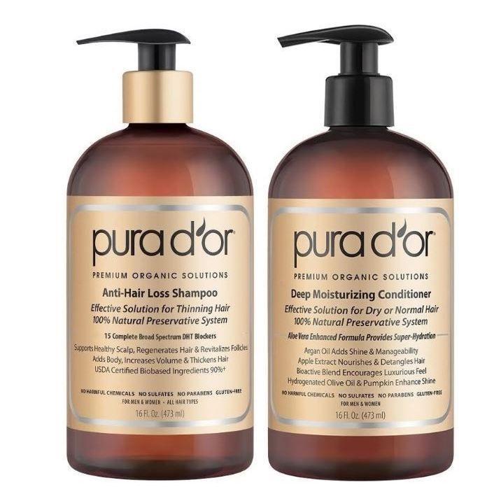 Pura Label Anti-Hair Loss 16-ounce Shampoo & Deep Moisturizing Conditioner Set