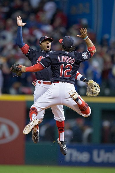 Cleveland Indians Outfield Rajai Davis and Cleveland Indians Shortstop Francisco Lindor celebrate following the 2016 World Series Game 1 between the...