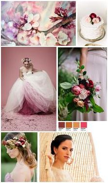 """Spring moodboard in #pink and #marsala tones ...or in other words """"how I imagine the #spring #bride of 2015!"""". I present you a fresh color palette with soft and vivid colors in balance with an air of #modern #romance.  Noted from left to right and top to bottom: Watercolor, Antigoni Livieratou 