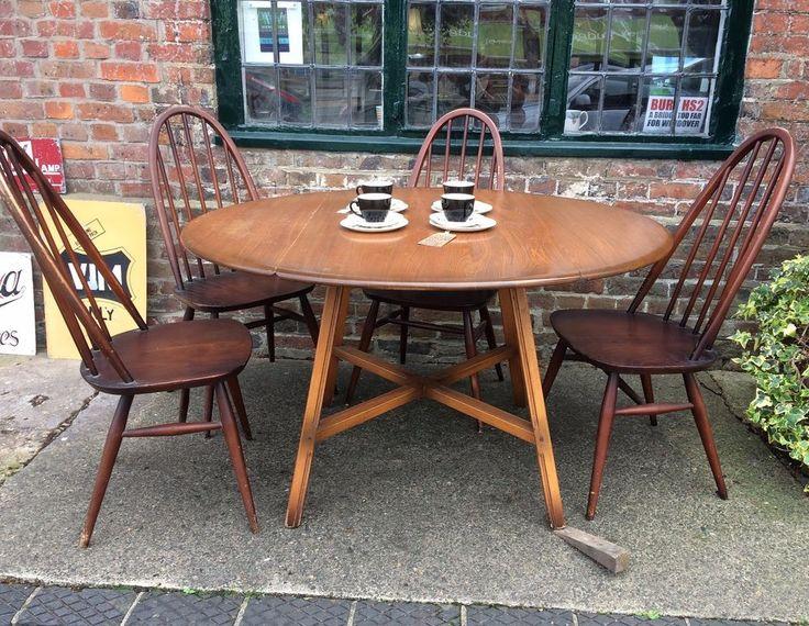 Vintage 60s Mid Century Ercol Drop Leaf Dining Table Seats 6 Dark Wood  Beech Elm  