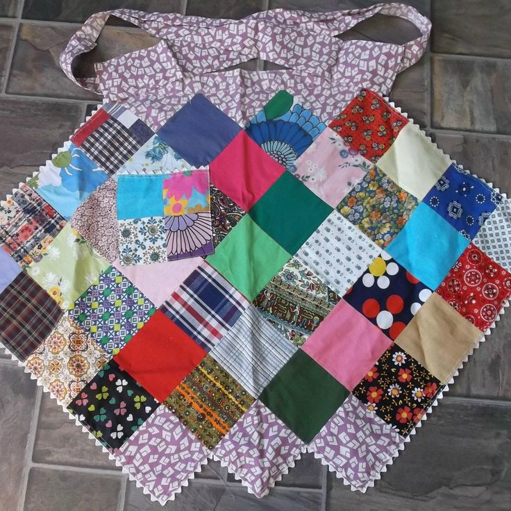 Vintage Homemade  Patchwork Apron with Rickrack  offered by Ruby Lane shop Saltymaggie's Treasures