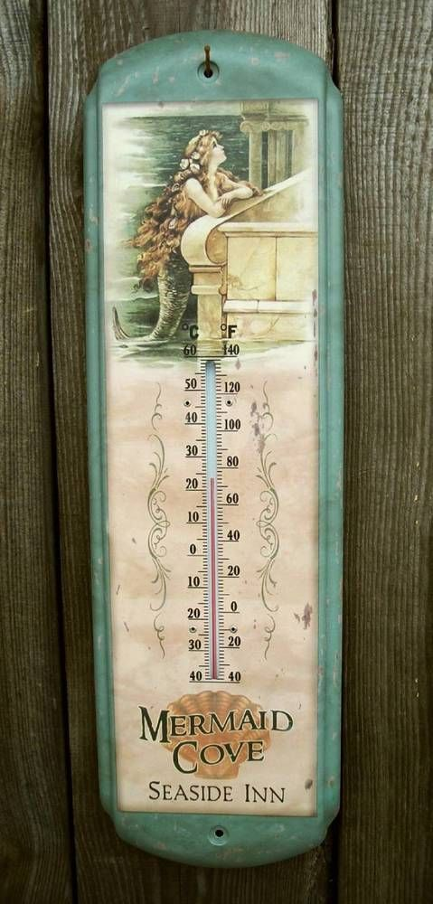 "Rustic Vtg Style Mermaid Cove 17"" Thermometer-Beach House/Ocean Wall Decor Sign #VintageAntiqueRusticLook"