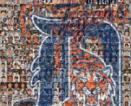 """Detroit Tigers Player Mosaic Photo Art, Designed Using Past and Present Tiger Players. 11x14"""" Matted Print. by Sports Creations, http://www.amazon.com/dp/B00F6CPBZG/ref=cm_sw_r_pi_dp_k34nsb1VZVMCY"""
