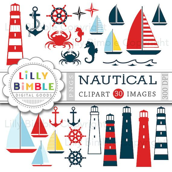 40% off Nautical clipart sailing boats, lighthouses, crab, boats, seahorse, anchors, wheel  Instant Download