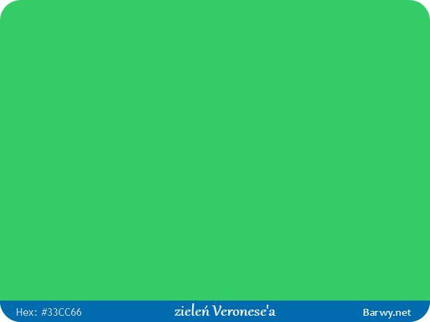 Kolor RGB HEX 33CC66 - zieleń Veronese'a - Barwy.net