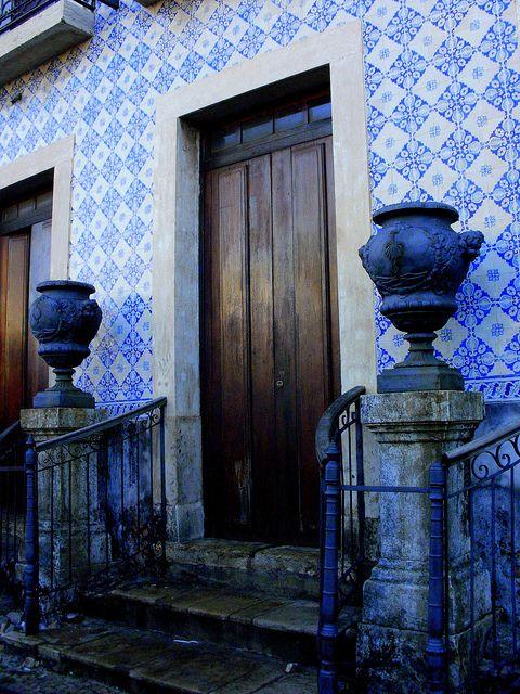 Maranhão.  Old mansion at Praça do Carmo, at Rua do Egito, in Sao Luis, state of Maranhao. Portuguese tiles.