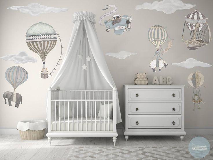 NEU! Med. Neutraler Heißluftballon & Tiere, 6er-Set, 5 Wolken, Eule, Kindergarten, Baby, handbemalt, Repositionierbarer Wandtattoo aus Stoff