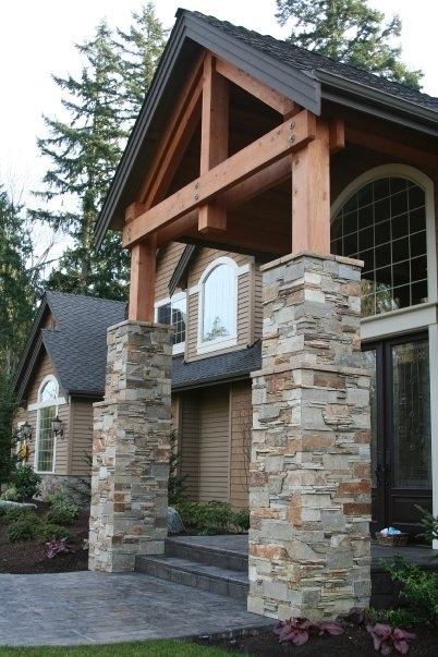 Stone Entrance Pillars : Best images about home exterior stone siding on