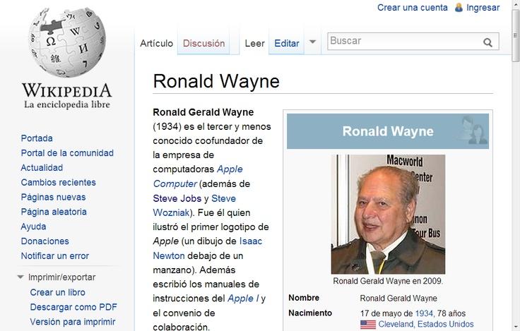 Ronald Wayne (El tercer fundador de Apple)  - Wikipedia, la enciclopedia libre