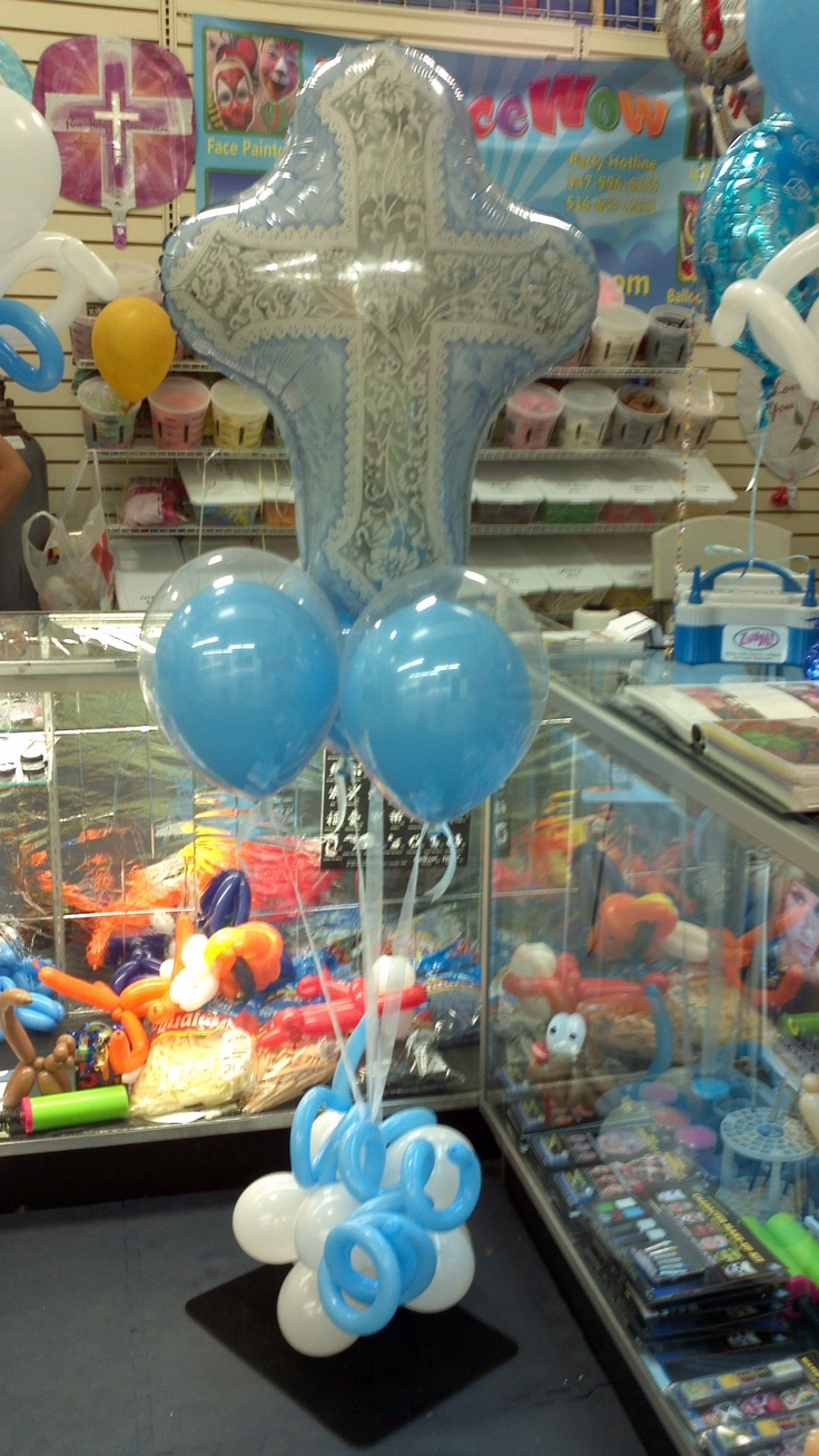 115 best images about balloon christening communions for Balloon decoration for christening party