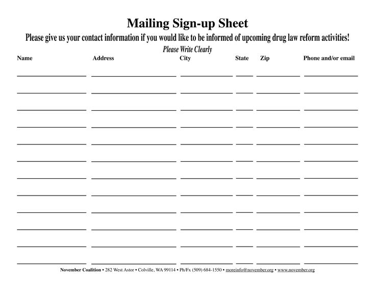 email sign up sheet Template – E Mail Sign Up Sheet