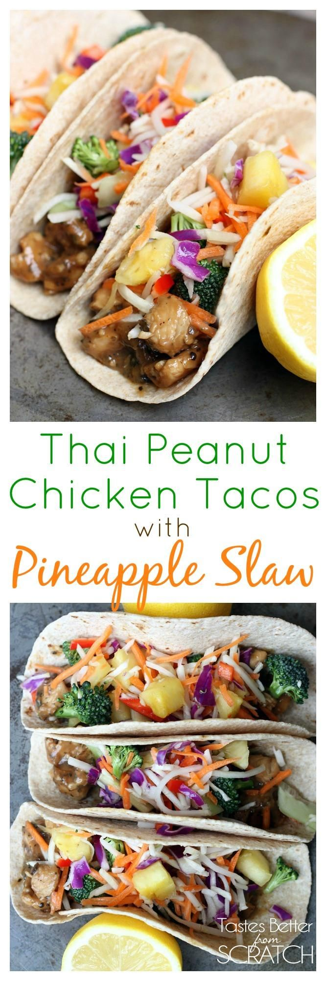 Thai Peanut Chicken Tacos with Pineapple Slaw