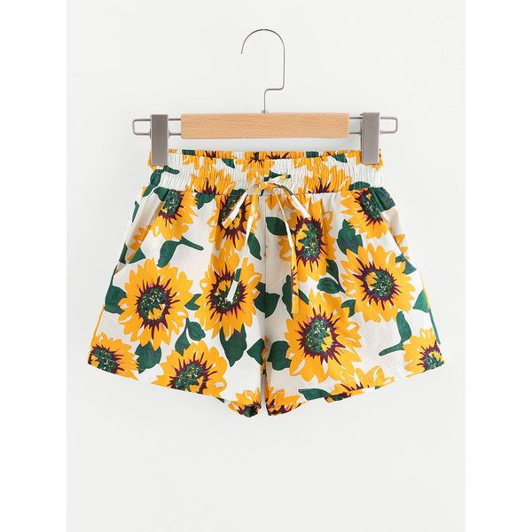 SheIn(sheinside) Sunflower Print Drawstring Waist Shorts ($11) ❤ liked on Polyvore featuring shorts, yellow, drawstring waist shorts, sunflower shorts, flower print shorts, loose shorts and floral shorts