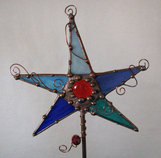 Stained glass copper garden sculpture magic wand plant stake suncatcher yard art mixed media. $20.00, via Etsy.