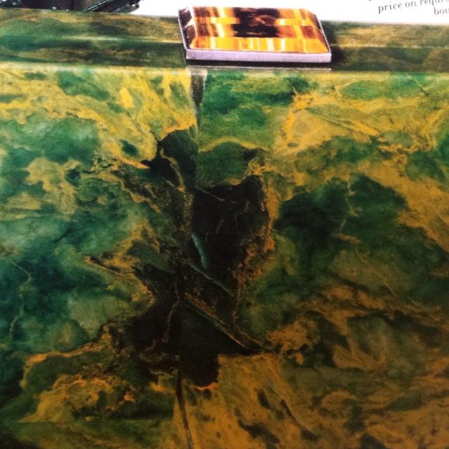 Oscar de la Renta hand carved Stone Box clutch
