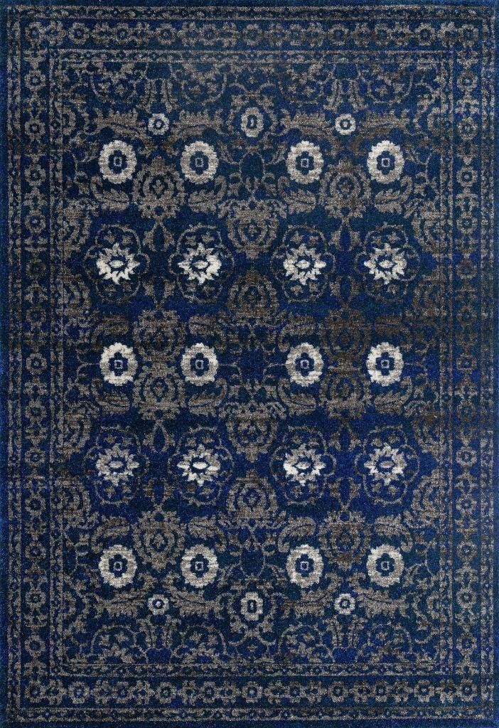 Dark Blue Medallion Oriental Clearance Area Rugs (5x8) (8x11) - Bargain Area Rugs