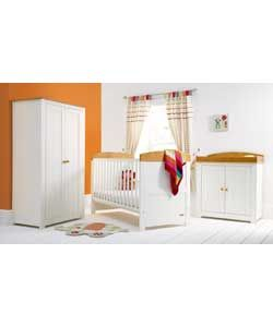 Mamas And Papas Teo Two Tone Nursery Furniture Set   Pine/Wh