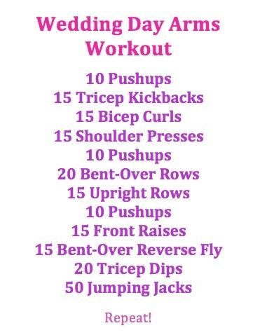 No Wedding day to prep for but still think this is a good quick, easy arm workout!