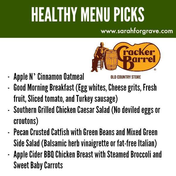 Healthy Menu Options at Cracker Barrel Restaurant | www.sarahforgrave.com