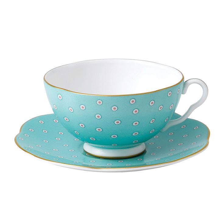 17 best images about cup saucer on pinterest vintage for Gold polka dot china