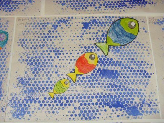 * Bubbeltjesplastic! Vissen en evt. waterplanten enz erbij plakken...