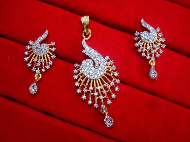 Daphne Designer Zircon Pendant and Earrings for Women, For Rakhi Gift