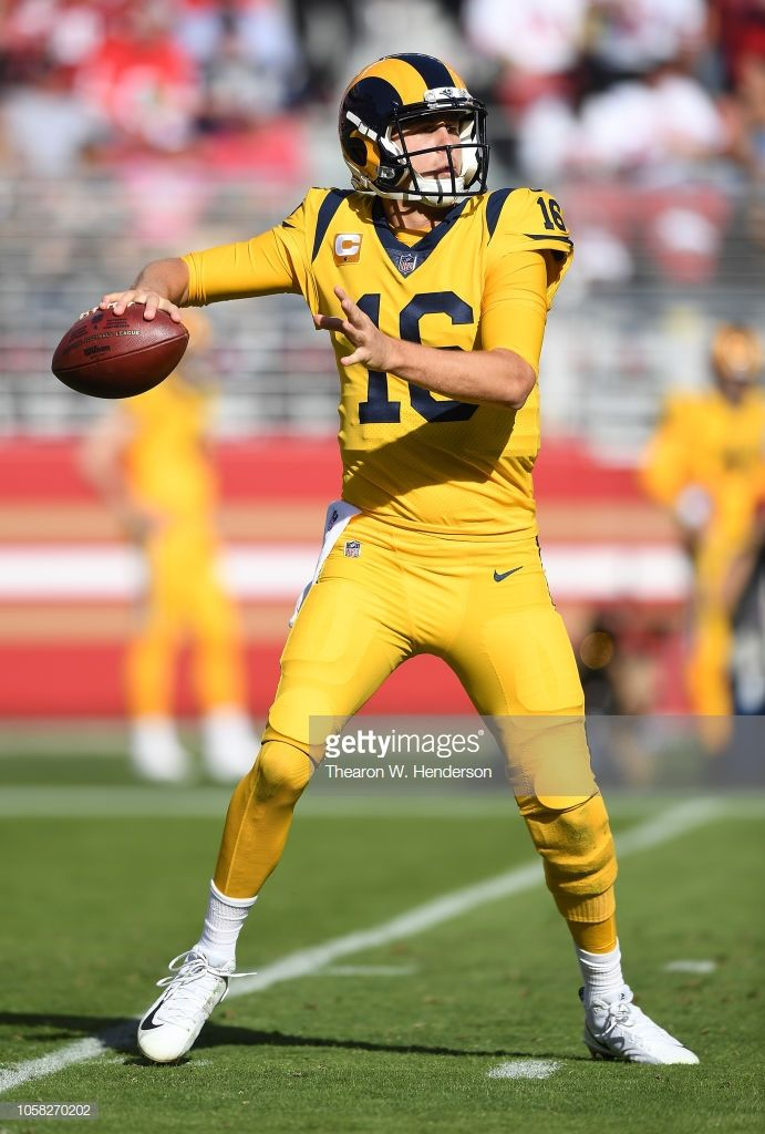 Jared Goff Of The Los Angeles Rams Looks To Pass Against The San Los Angeles Rams Jared Goff La Rams