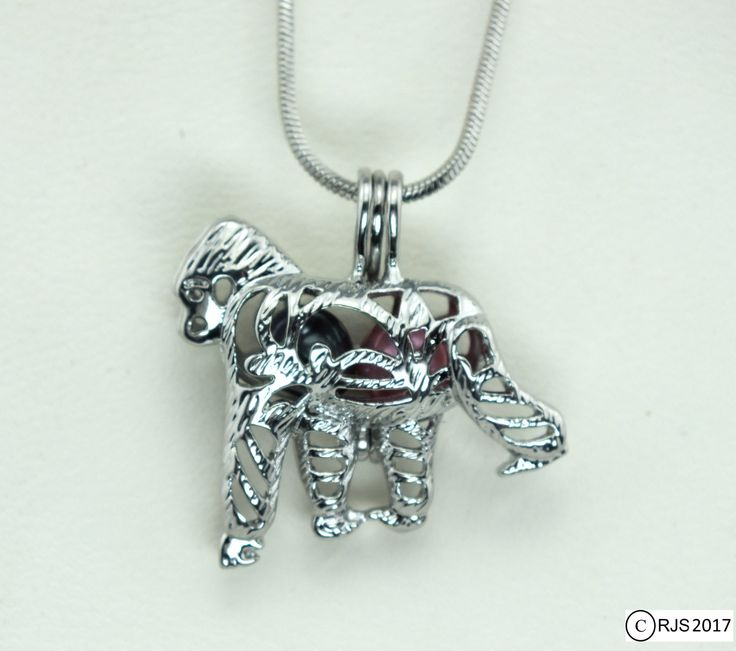Pick A Pearl Cage Silver Plated Gorilla Zoo Animal Holds Bead Gem Pearl Charm by AOSDESIGN on Etsy
