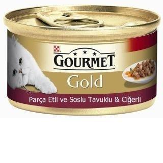 Purina Gourmet Gold Parça Etli Tavuklu ve Ciğerli Yetişkin Kedi Yaş Mama Konservesi