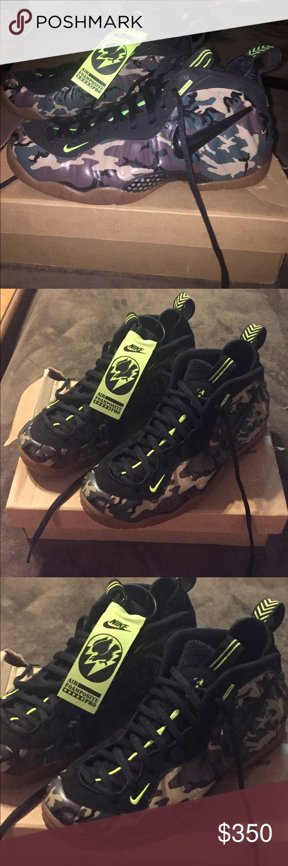 NIKE AIR FOAMPOSITE PRO sneakers Men's size 9.5 NIKE AIR FOAMPOSITE PRO sneakers. Camo with black swoosh. Black laces. RARE never worn.  NIKE Shoes Sneakers