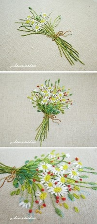 ♒ Enchanting Embroidery ♒ embroidered flower bouquet