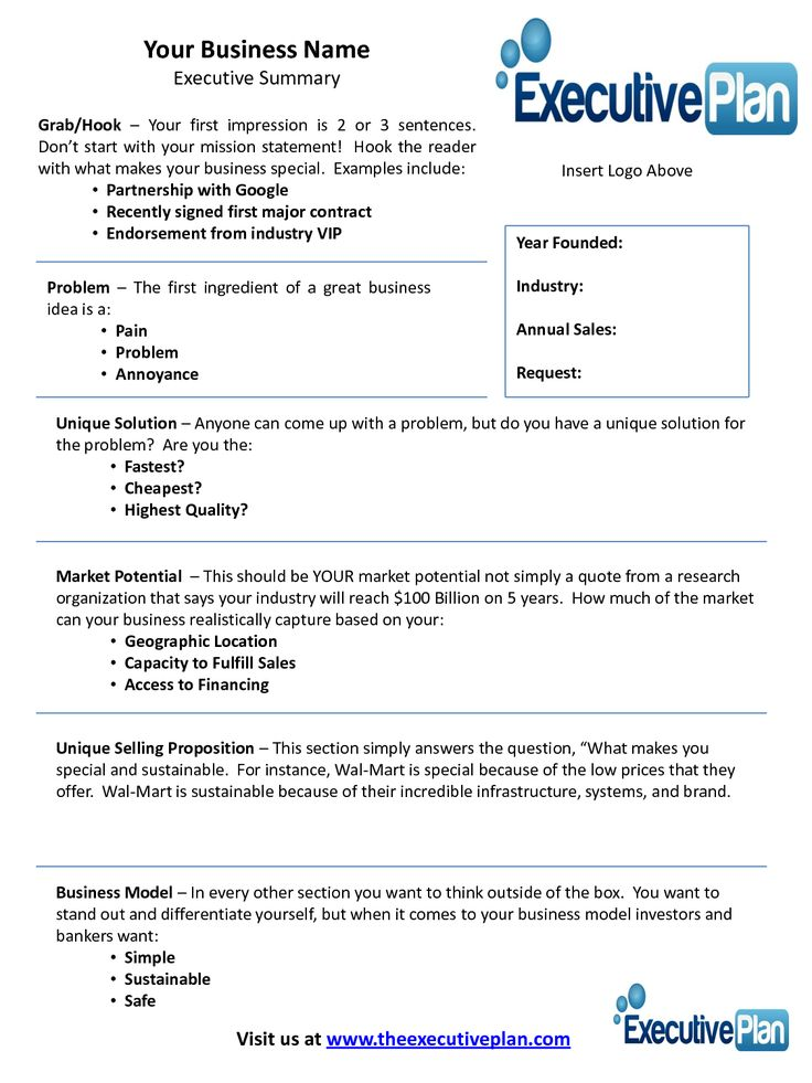 examples of an executive summary | Executive Summary Template for Bank Loan