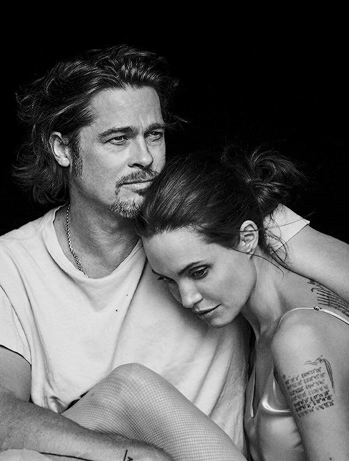 """Brad & Angie photographed by Peter Lindbergh for """"Vanity Fair"""" Italia (November 2015)"""