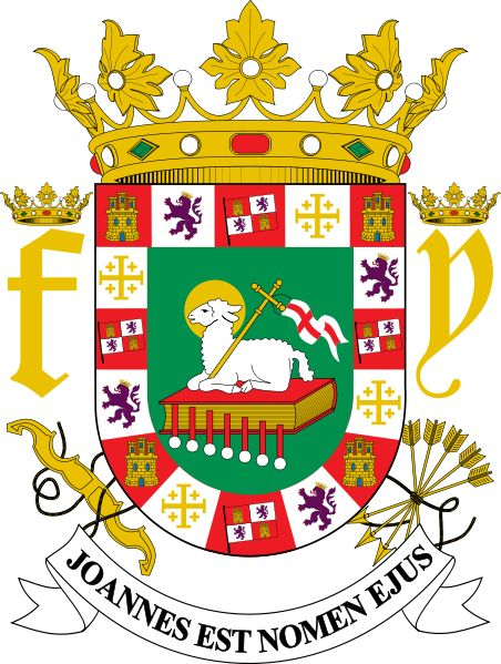 Coat of Arms of Puerto Rico. Granted by the Catholic Kings of Spain on November 1511. It is the oldest coat of arms in the New World.
